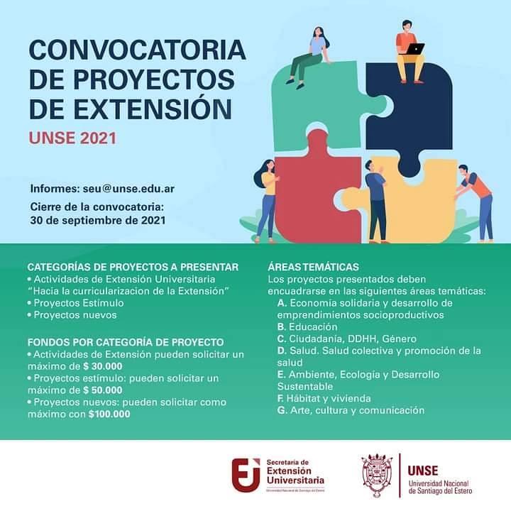 Convocatoria de proyectos de extensión 2021 de la UNSE